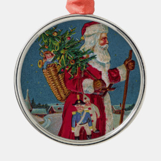 Vintage Santa Claus with Toys Silver-Colored Round Ornament