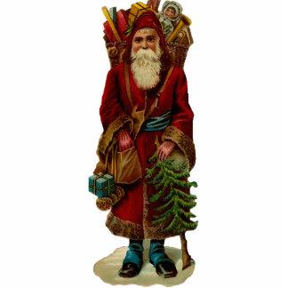 Vintage Santa Clause Sculpture Ornament Photo Cutouts