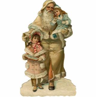 Vintage Santa Clause Sculpture Pin Photo Cut Out