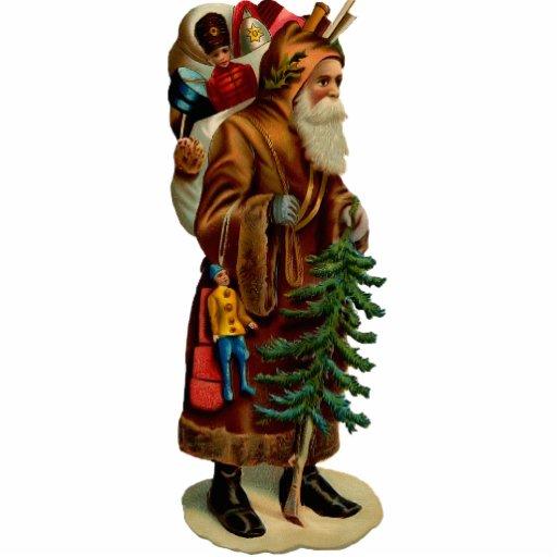 Vintage Santa Clause Sculpture Pin Acrylic Cut Outs