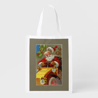 Vintage Santa Driving a Yellow Car Grocery Bag