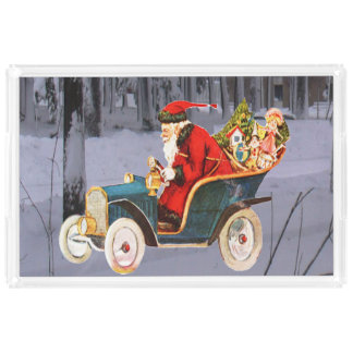Vintage Santa Driving in a Modern Snow Scene Tray