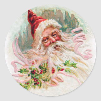 Vintage Santa Face Round Sticker