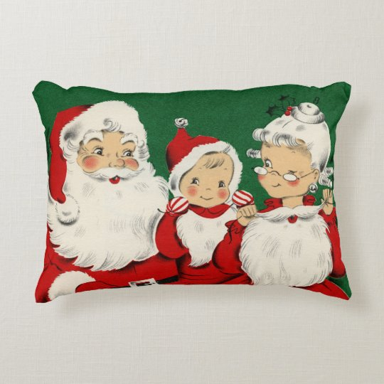 Vintage Santa Family Christmas Accent Pillow