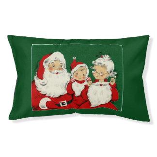 Vintage Santa Family Christmas Small Dog Pillow