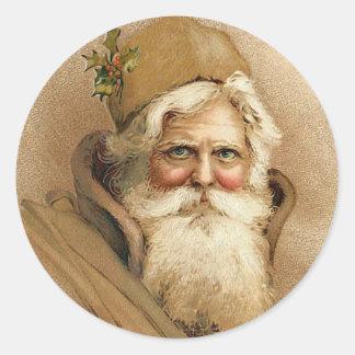 Vintage Santa / Father Christmas Classic Round Sticker