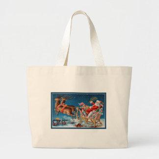 vintage santa flying sleigh large tote bag