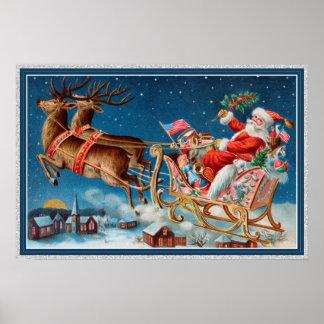vintage santa flying sleigh poster