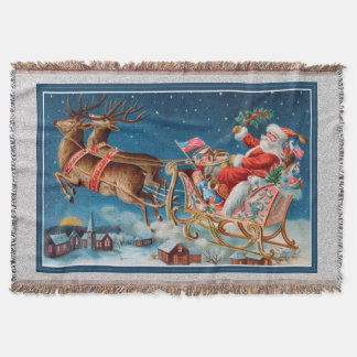 vintage santa flying sleigh throw blanket