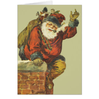 Vintage Santa Going Down the Chimney Card