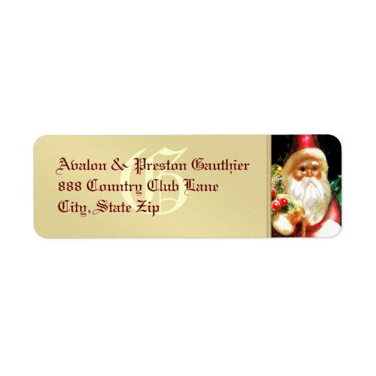 Vintage Santa Gold Metal Address Label