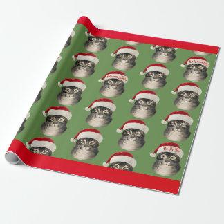 Vintage Santa Hat Cat Art Wrapping Paper