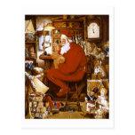 Vintage Santa in Workshop Card Postcards