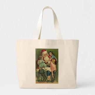 Vintage Santa Large Tote Bag