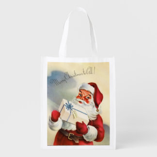 Vintage Santa Merry Christmas to All Reusable Grocery Bag