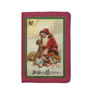 Vintage Santa Merry Christmas Tri-fold Wallet