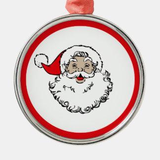 Vintage Santa Metal Ornament