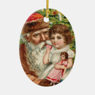 vintage_santa_old_christmas_oval _ornament ceramic ornament