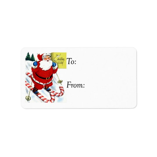 Vintage Santa on Candy Cane Skiis Gift Tag
