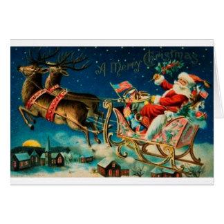 Vintage Santa on Sleigh Card