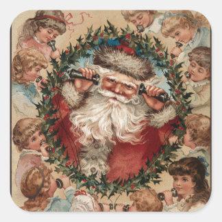 Vintage Santa on the Phone Square Sticker