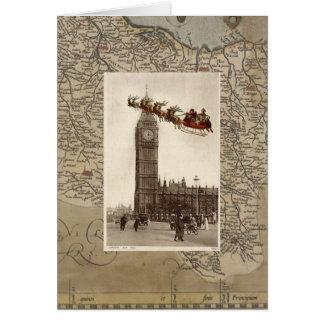 Vintage Santa over Big Ben London Christmas Card