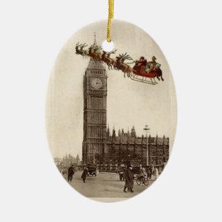 Vintage Santa over BigBen London Christmas Ornamet Ceramic Ornament