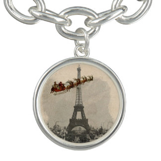 Vintage Santa over Paris Christmas Charm