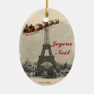 Vintage Santa over Paris Christmas Ornament