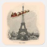 Vintage Santa over Paris Christmas Sticker