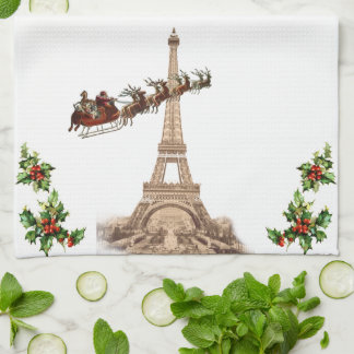Vintage Santa over Paris Christmas Towel