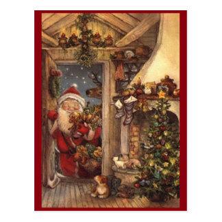 Vintage Santa Peeking In Postcard