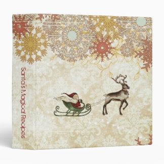 Vintage Santa & Reindeer 3 Ring Binder