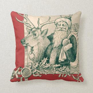 Vintage Santa Reindeer Christmas Saint Nick Throw Pillow