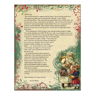 Vintage Santa Retro Circle Christmas Letter Letterhead Design