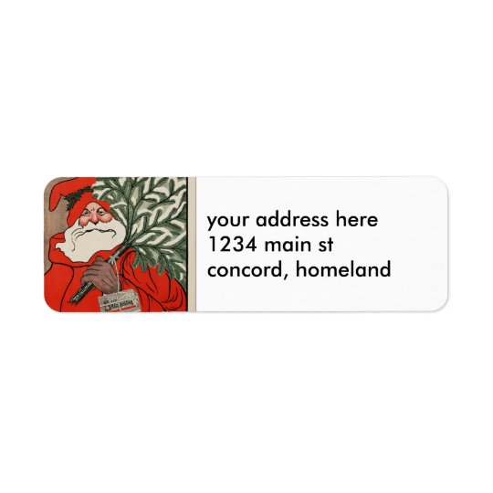 Vintage Santa Return Address Label