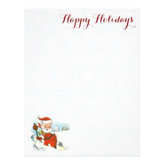 Vintage Santa Shoveling Snow Holiday Letterhead