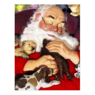 Vintage Santa Sleeping With Puppies Postcard