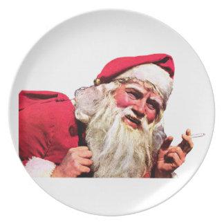 Vintage Santa Smoking Cigarette Plate