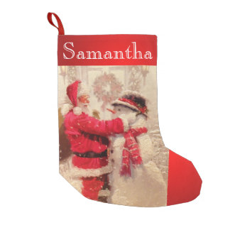 Vintage Santa Snowman Christmas Stocking Custom
