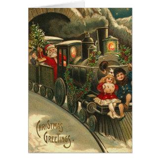 Vintage Santa Train Holiday Christmas Greetings Card
