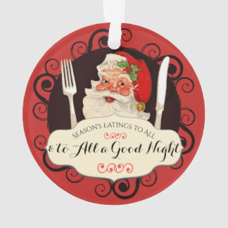 Vintage Santa utensils foodie Christmas ornament