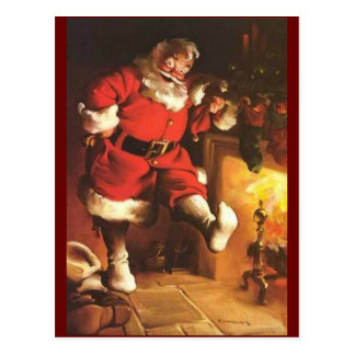 Vintage Santa Warming His Feet Postcard