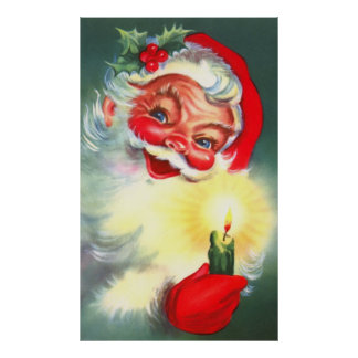 Vintage Santa with Candle Poster