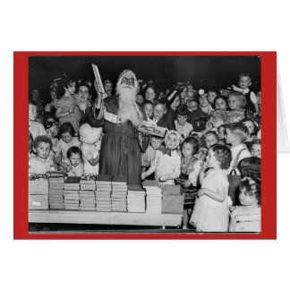 Vintage Santa with Children Card