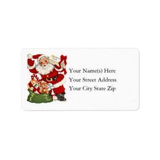Vintage Santa With Christmas Cheer Address Label