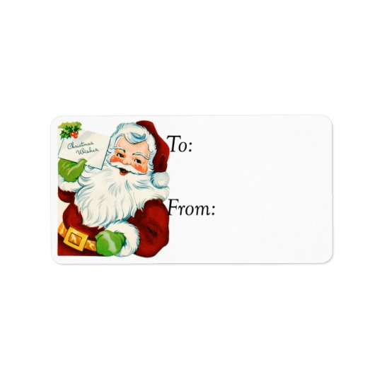 Vintage Santa With Christmas Wishes Gift Tag