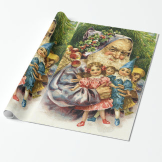 Vintage Santa with Dolls Wrapping Paper