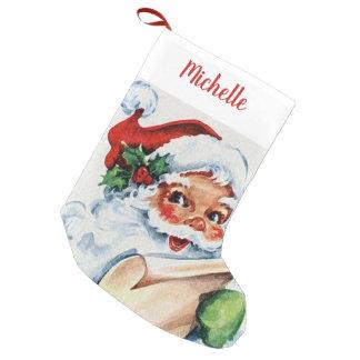 Vintage Santa with Name Small Christmas Stocking