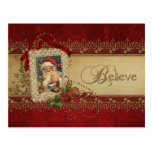 Vintage Santa with Poinsettia and Gold Lace